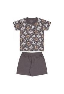 Pijama Infantil Menino Camiseta Manga Curta E Short Dog Cinza Bicho Bagunça
