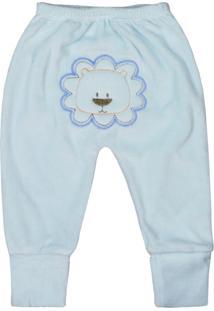 Calça De Bebê Pé Reversível Plush Azul Claro Bordado No Bum Bum Azul Claro