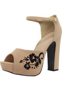 Sapato Peep Toe Shepz Detalhe Floral - Tricae