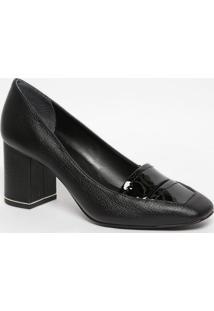 Sapato Em Couro Com Recorte Envernizado- Preto- Saltjorge Bischoff