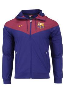 Jaqueta Barcelona Windrunner 18/19 Com Capuz Nike - Masculina - Azul Escuro