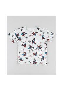 Camiseta Infantil Homem Aranha Estampada Com Bolso Manga Curta Cinza Mescla Claro