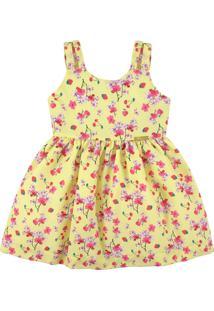 Vestido Infantil Essência Viva Verão No Campo Amarelo