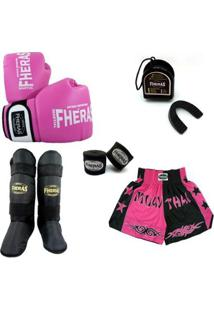 Kit Muay Thai Orion-Luva Band Bucal Caneleira Shorts- 08 Oz - Feminino