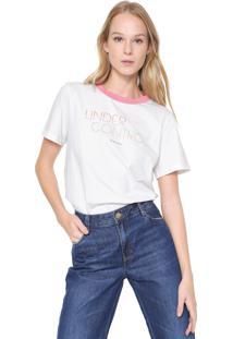 Camiseta Colcci Simplicity Off-White/Rosa