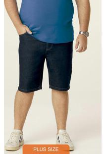 Bermuda Azul Escuro Em Jeans Masculina Plus