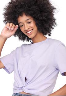 Camiseta Cropped Colcci Nó Lilás