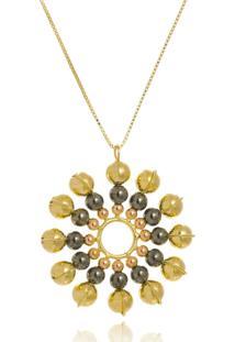 Colar Le Diamond Sol Multicolorido Abs Dourado