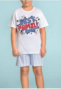 Pijama Curto Brilha No Escuro Best Family Ever 120358 Lua Encantada