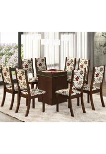 Conjunto Para Sala De Jantar Mesa E 8 Cadeiras Amora Espresso Móveis Choco/Primavera