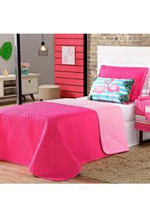 Cobre Leito Flamingo Pink/Rosa Dupla Face C/ Almofada Casal 04 Peças Dourados Enxovais