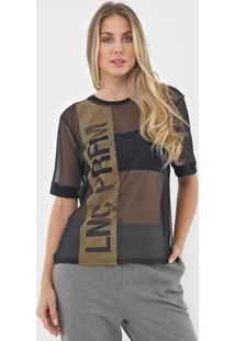 Camiseta Lança Perfume Tule Aplicações Preta - Kanui