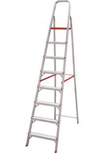 Escada Em Alumínio Com 8 Degraus Prata