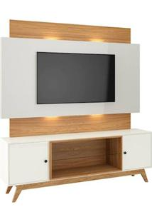 Rack Com Painel Munique Com Led 1,80 Mt Cor Off White Com Freijo - 51627 - Sun House
