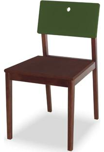 Cadeira Flip Cor Cacau Com Encosto Verde Escuro - 31135