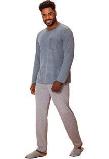 Pijama Masculino Longo Listrado Família Luna Cuore