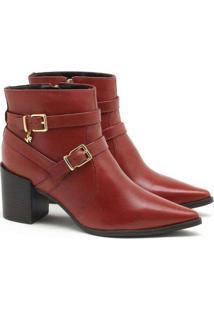Ankle Boot Verofatto Ariane Fivela Couro Marrom