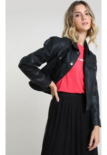 Jaqueta Feminina Cropped Com Bolsos Preta