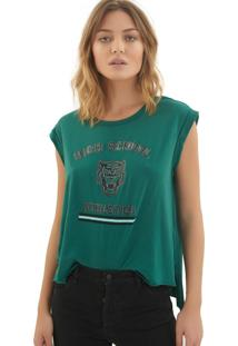 Camiseta Rosa Chá Mel Malha Verde Feminina (Storm, M)
