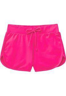 Shorts Rosa Runner Em Cotton Menina