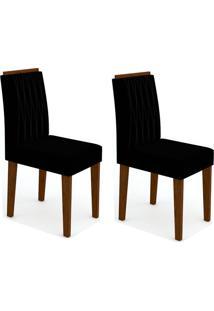 Conjunto Com 2 Cadeiras Ana Ii Castanho E Preto