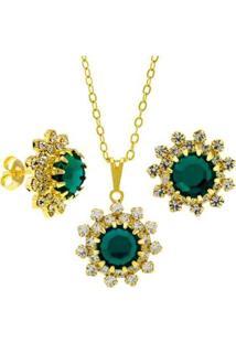 Conjunto Horus Import Gargantilha+Brincos Banhado Ouro 18K Feminino - Feminino-Dourado