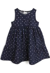 Vestido Rovitex Coração Azul-Marinho