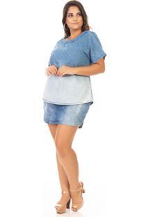 T-Shirt Feminina Jeans Com Estampa Plus Size - Kanui