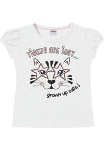 Blusa Infantil Fakini Kids Verão Tigers Feminina - Feminino-Branco
