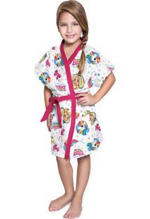 Roupão Felpudo Infantil Verão Estampado Barbie Reinos Mágicos P Com 1 Peça Lepper Pink