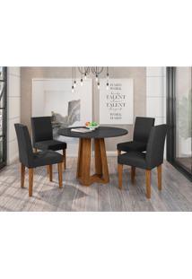 Conjunto De Mesa De Jantar Com Tampo De Vidro Isabela E 4 Cadeiras Giovana Animalle Preto