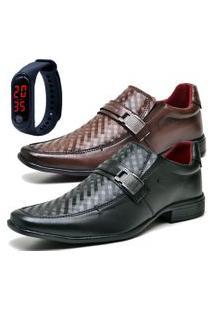 2 Pares Sapato Social Fashion Com Relógio Led Fine Dubuy 1601El Preto