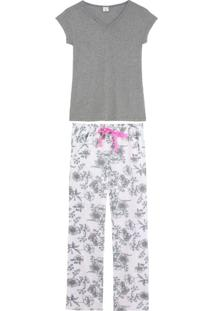 Pijama Feminino Lua Encantada Longo Manga Curta