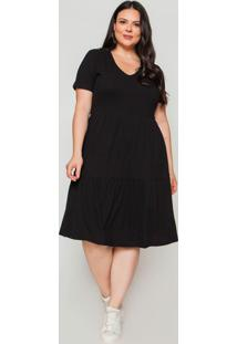Vestido Almaria Plus Size La Qualite Malha Preta