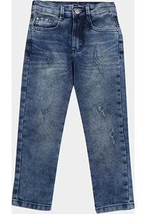 Calça Jeans Juvenil Malwee Skinny Estonada Masculina - Masculino-Azul
