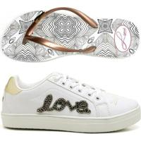 350407c03b8 Kit Tênis Love Top Franca Shoes + Chinelo Top Franca Shoes Feminino -  Feminino-Branco