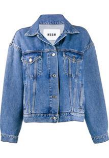 Msgm Kitten Print Denim Jacket - Azul