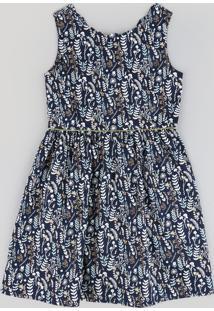 Vestido Infantil Estampado De Folhas Sem Manga Azul Marinho