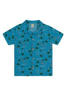 Camisa Infantil Masculina Tropical Trick Nick Azul