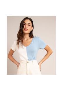 Camiseta Com Recorte Manga Curta Decote V Multicor