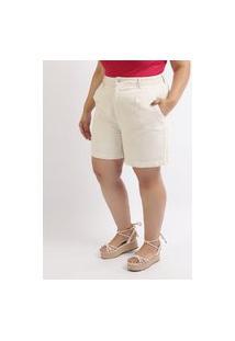 Bermuda De Sarja Feminina Plus Size Cintura Alta Com Bolsos E Pregas Off White