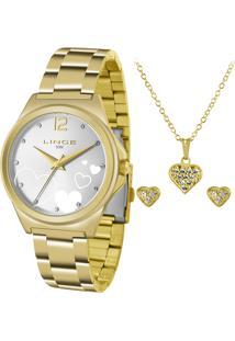 Kit De Relógio Analógico Lince Feminino + Brinco + Colar - Lrg4560L Kv18S2Kx Dourado - Único