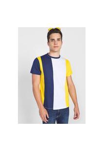 Camiseta Forever 21 Recorte Branca/Azul-Marinho