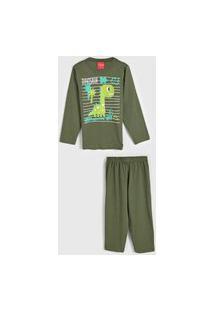 Pijama Tricae Longo Infantil Dinossauro Verde