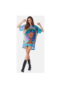 Camiseta Yacamim Com Mangas Curtas Azul