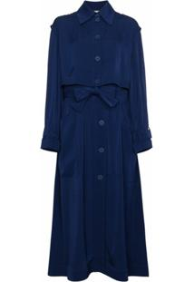 Stella Mccartney Trench Coat Com Cós Elástico - Azul