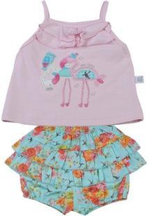 Conjunto Bebê Cotton E Cetim De Algodão Estampa - Feminino-Rosa