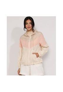 Jaqueta Corta Vento De Nylon Feminina Color Block Com Bolsos E Capuz Bege