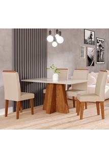 Conjunto De Mesa Patricia 1,30Cm Para Sala De Jantar Com 4 Cadeiras Milena Com Moldura-Cimol - Savana / Off White / Sued Bege
