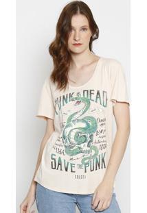 "Camiseta Paintsplatter ""Cobra"" - Bege & Verde - Colccolcci"